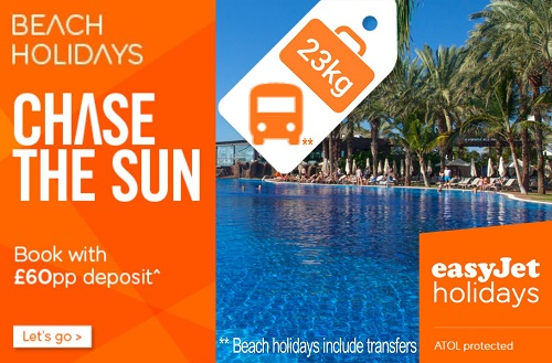 easyJet holidays: Benidorm and beach holidays now include 23kg luggage, cabin bag and transfers. ATOL proetected.