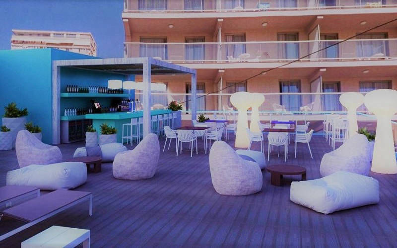Hotel Benidorm Centre new chillout rooftop terrace and cocktail bar.