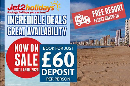Jet2holidays now on sale up to April 2020. Book you next Benidorm holiday for £60 per person deposit. Choose form 75 hotels in Benidorm.