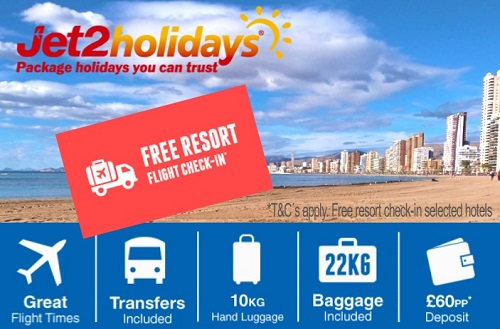 Jet2 Holidays Benidorm from £279 and  include 10kg hand luggage, 22kg hold luggage and transfers.