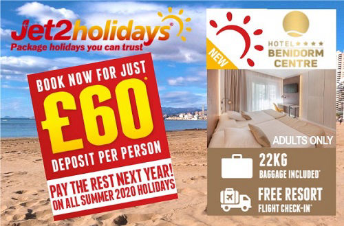 Jet2holidays now on sale up to November 2020. Book you next Benidorm holiday for £60 per person deposit. Choose from 77 Benidorm hotels.