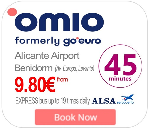 omio (GoEuro) Alicante airport express bus to or from Benidorm