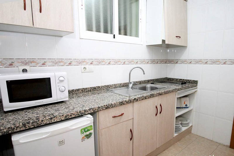 Playamar Apartments Levante Benidorm - Kitchen with microwave, hob and fridge.