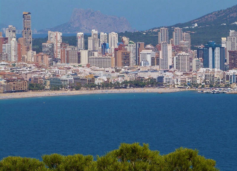 Panoramic view of the Playa Poniente Benidorm.
