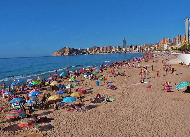 August on the beach, Playa Poniente Benidorm.