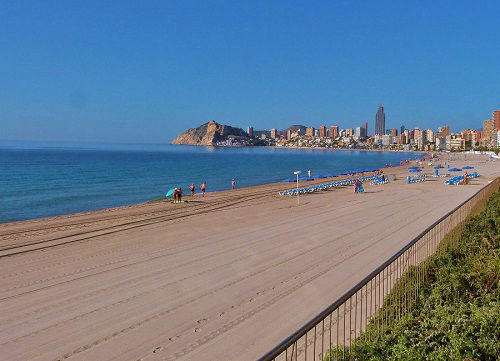 3km of fine white sand along the Playa Poniente, Benidorm.