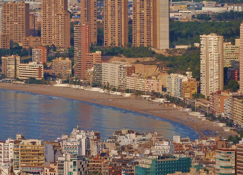 The skyline Playa Poniente in Benidorm Spain.