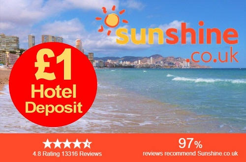 sunshine hotels and holidays Big Savings, tiny deposits.