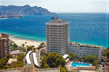 Servigroup Torre Dorada 3 Star Holiday Hotel in Cala Poniente Benidorm, with sea views.