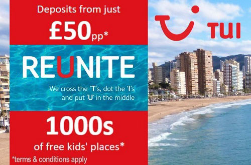TUI Holidays from £50 deposit plus 1000´s of free kids places