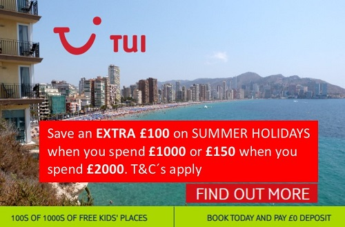 TUI Benidorm holidays save up to £150 extra per booking on summer 2020 holidays.