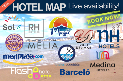 Benidorm Hotel Map with Live Last Minute Availability