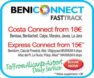 Daily shuttle transfers from Alicante airport to Benidorm, Benissa, Benitachell, Calpe, Altea, Javea and Moraira