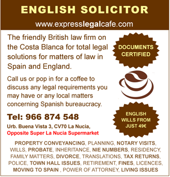 British Law Firm in Spain - Costa Blaca Lawyers for (conveyancing) property sales and purchases. Your English Solicitor for all legal matters in Spain. Offices in La Nucia on the Costa Blanca near Benidorm.