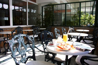 Enclosed Caf� Terrace to the front of the hotel